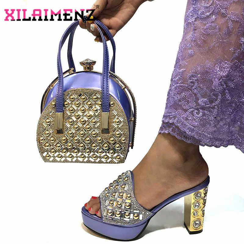 Di Colore verde acqua di Alta Qualità di Design Africano Pantofola Nigeriano Scarpe e Borse di Corrispondenza Pompe Africano e Sacchetti di Corrispondenza Pattini Del Partito