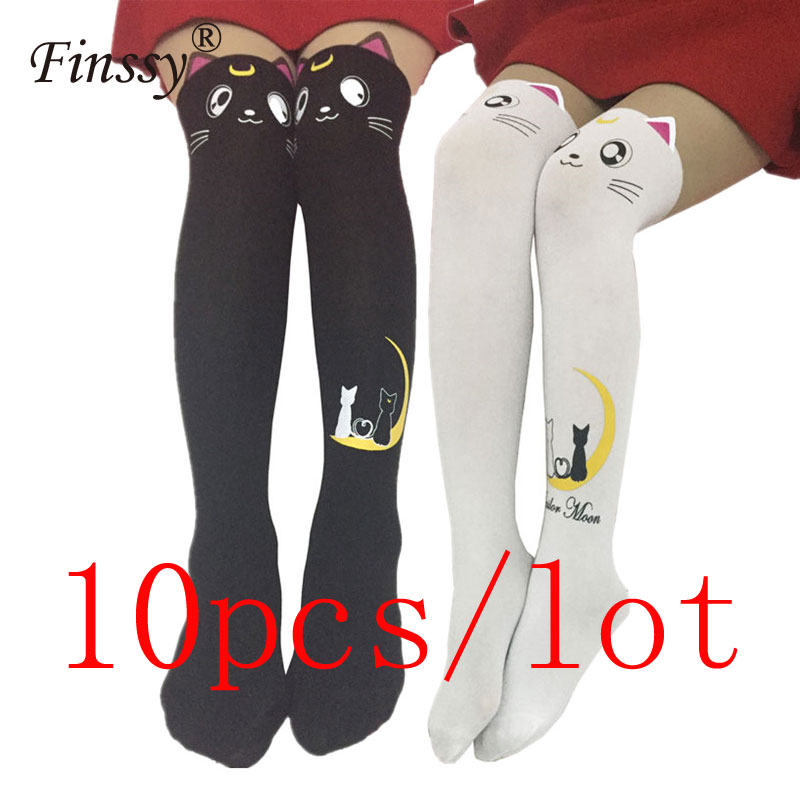 10pcs/lot Sailor Moon Socks for Girls Cosplay Costume Luna Cat Socks Pantyhose Silk Tights Leggings Stockings Black White