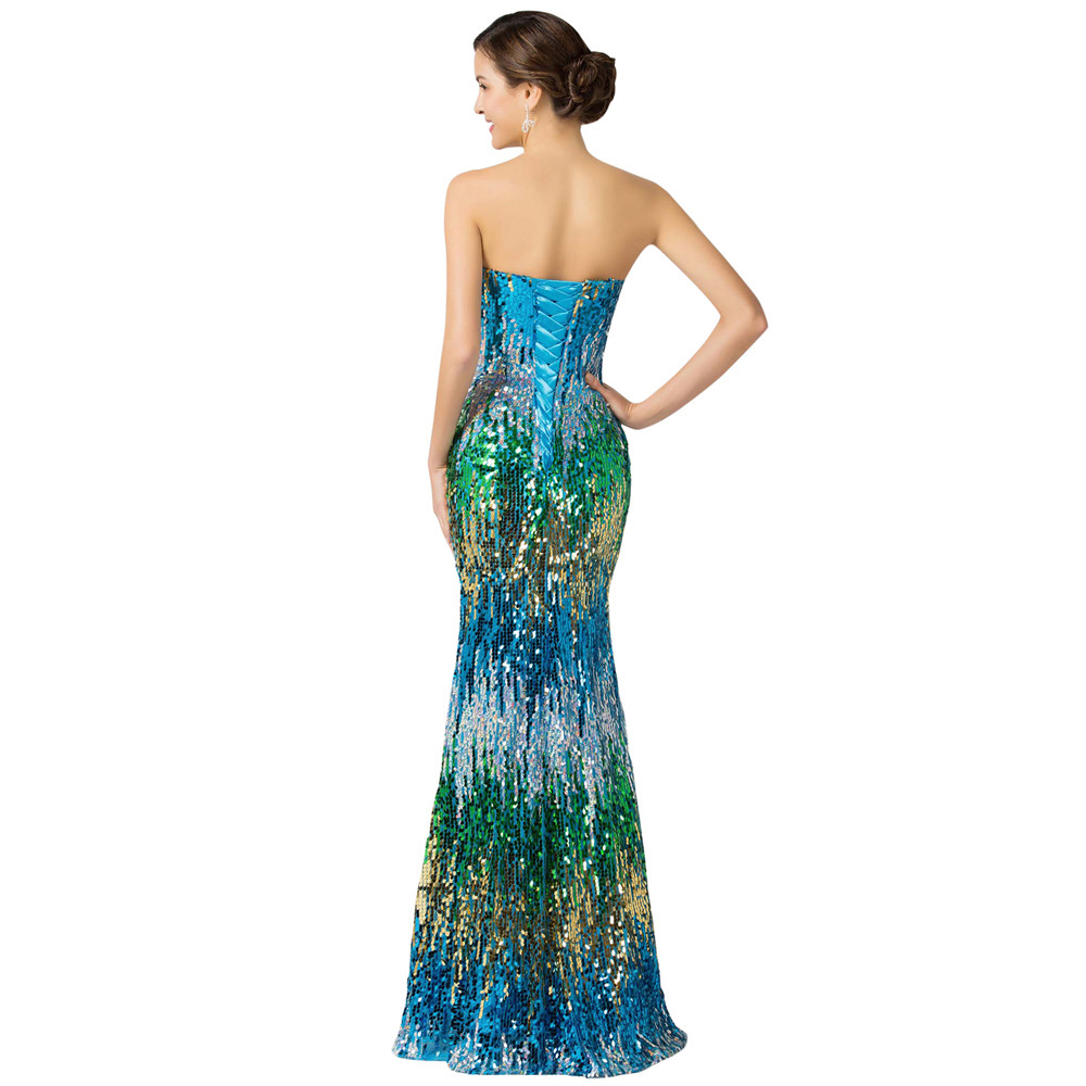 Sweetheart Colorful Sequins Lace Evening Dress 3