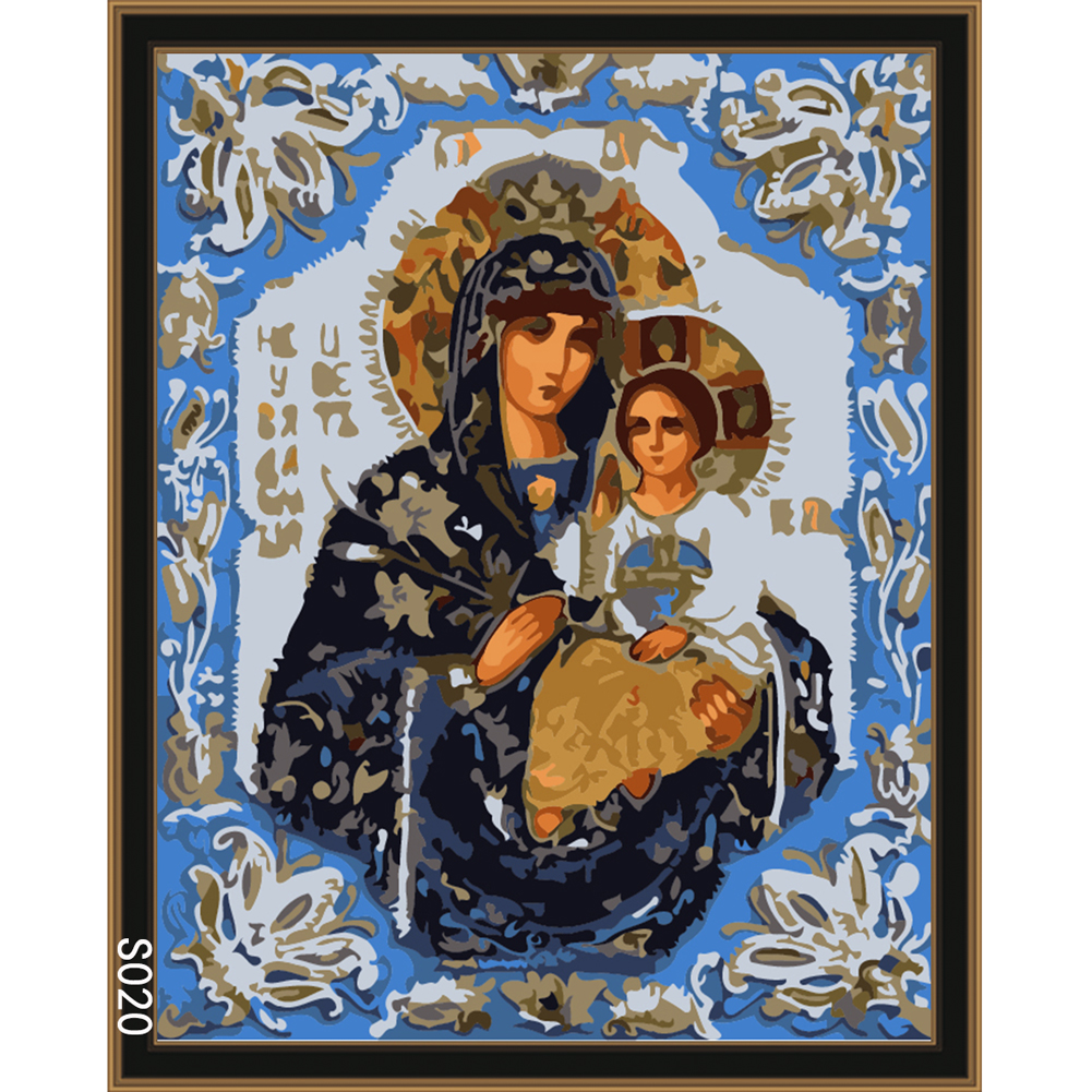 Frameless Virgin Mary holding Jesus Icon Oil Painting By Numbers DIY Digital Pictures Coloring By Number On Canvas Home Decor
