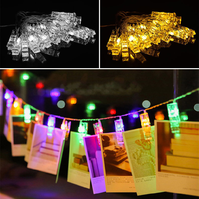 3.17M 4.5V ABS 20 LED Photo Peg Clip Shape Hanging Pictures Fairy String Lights Battery Power --M25