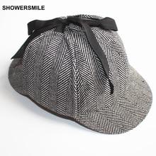 SHOWERSMILE Brand Sherlock Holmes Deerstalker Hat Unisex Accessories Women Mens Winter Hats With Ear Flaps Baseball Cap