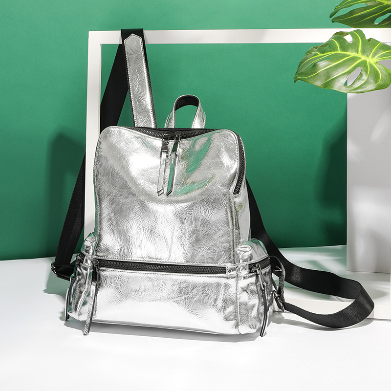 Women's Backpack 2019 New Fashion Summer School Bag For Teenage Girls Back Pack Silver High Quality Backpack PU Bagpack Female