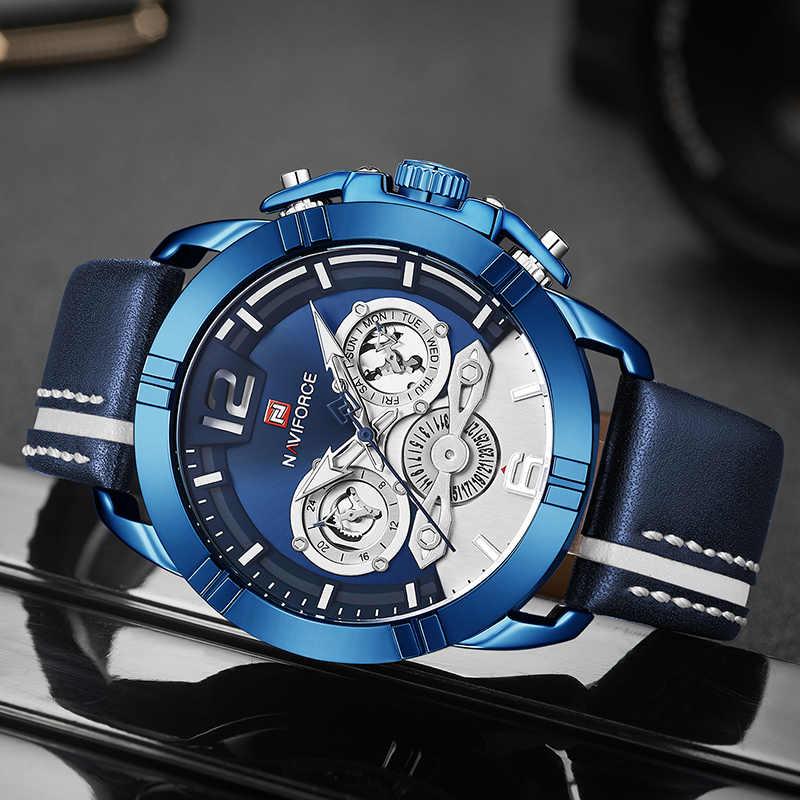 NAVIFORCE мужские часы Топ люксовый бренд военные кварцевые часы мужские спортивные Водонепроницаемые кожаные Наручные часы мужские Relogio Masculino