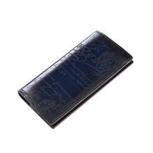 TERSE_Factory price genuine leather long wallet mens handmade leather purse with phone pocket 4 colors vintage engraving custom