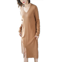 M 2XL!New Spring Autumn Pure Color V Neck Long sleeved Dress Quality Pullover Wool Knitted Dress Women Solid Medium Long Bushy