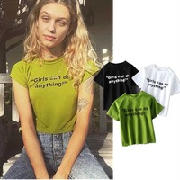 Summer Tops Verano Mujer 2017 Street Style Women Casual Base Blusas Mujer Letter T Shirt Cute