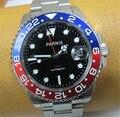 40mm Relógio Negócio Homens Parnis Safira Vermelho Azul Rotating Bezel GMT Automatic Relógios Masculino Correia de Aço Auto Data