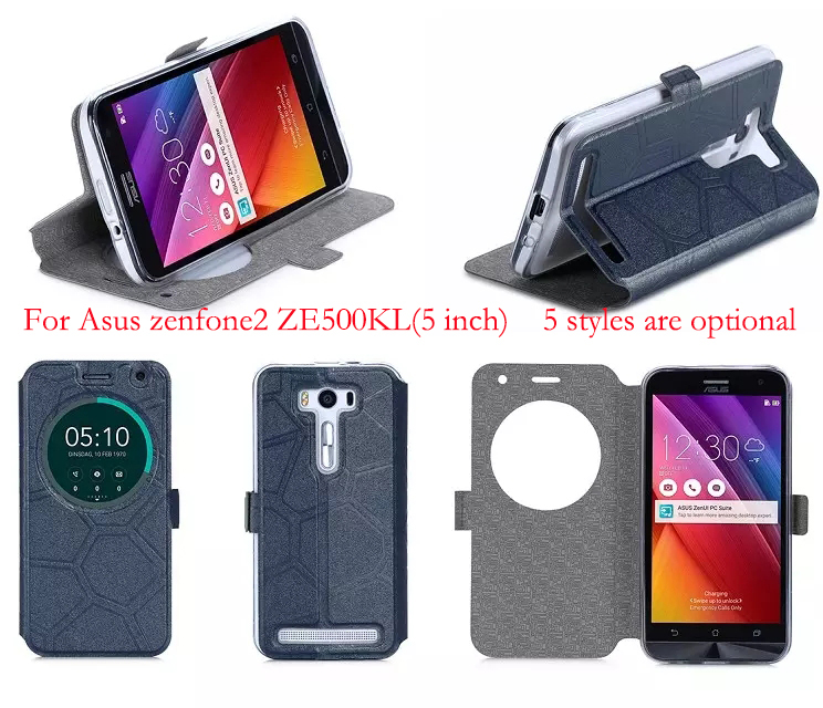 Phone cases for Asus Zenfone 2 Laser Case Sand-like Smart View Window Leather Cover for Asus Zenfone 2 Laser ZE500KL (5.0 inch)