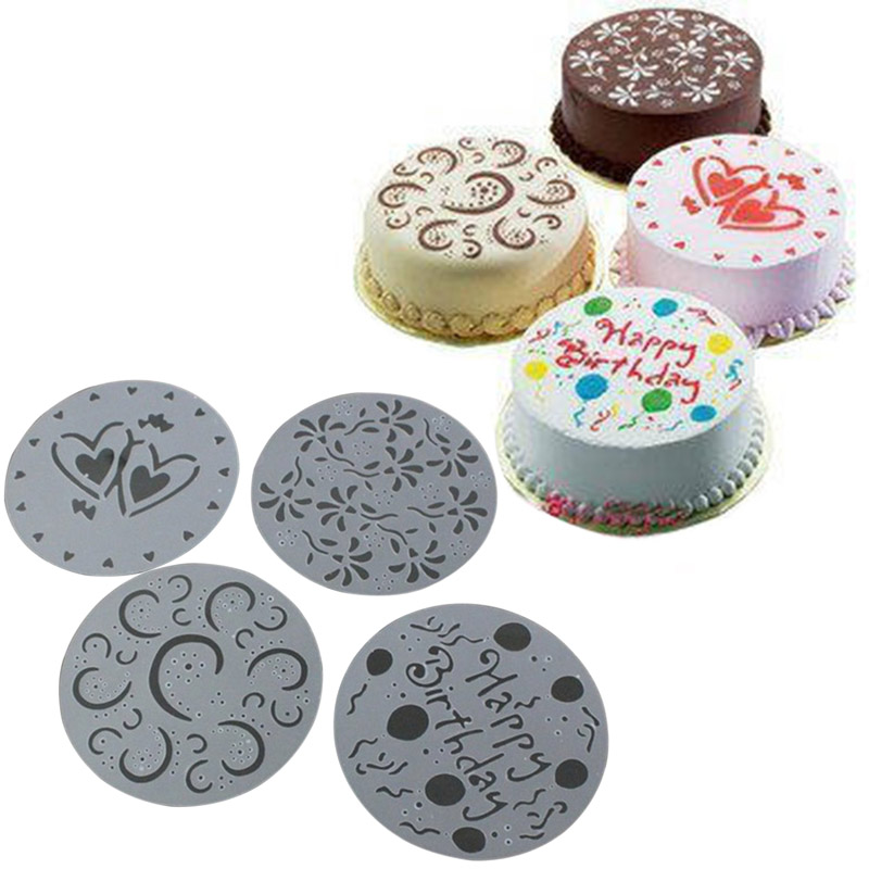 Baking accessories 4 Pcs/Set Cake Spray Mold Happy Birthday Flowers Heart Printed Pattern Stencils Cake Decoration Moulds Tools