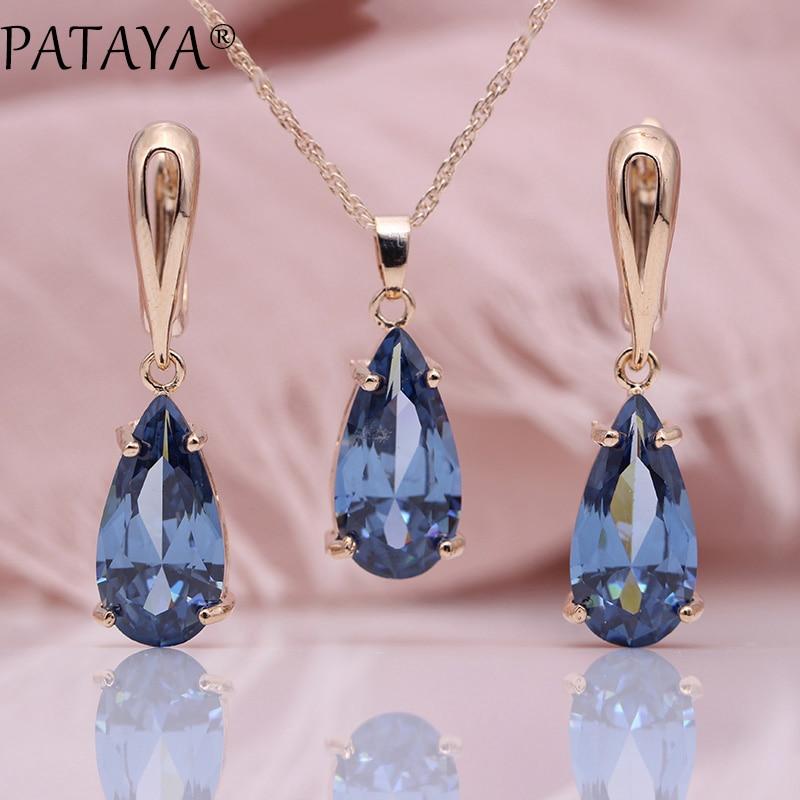 PATAYA Neue Blau Wasser Tropfen Ohrringe Anhänger Halsketten Sets 585 Rose Gold Natürliche Zirkon Für Frauen Mode Hochzeit Schmuck Set