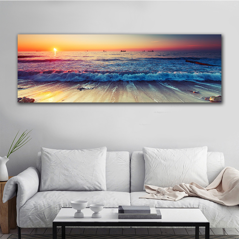 GoldLife Canvas Painting Beach Ship Sea Wall Art Nordic Posters And Prints Home Decoration Big Size Pictures For Living Room image