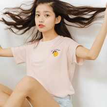2017 Women'S Kawaii Peach Embroidery Girl Soft Solid Color Punk T-Shirt Female Harajuku Cute Velvet Tees And Tops For Women