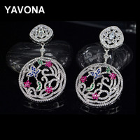 YAVONA Sparkling Women S Cubic Zirconia Dangle Earrings Round Butterfly Wedding Earrings Party Jewelry Gifts Personality