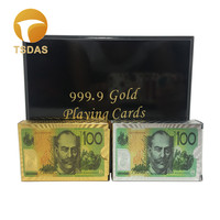 Luxury $100 AUD Golden & Silver Playing Cards Deck Come With Wooden Box, 24k Gold Poker Card Set Drop Ship