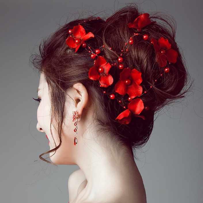 Свадебные украшения невесты Свадебные аксессуары для волос, Корона Белый Красный цветочный жемчуг украшение для волос с кристаллами головной убор невесты для ручной работы