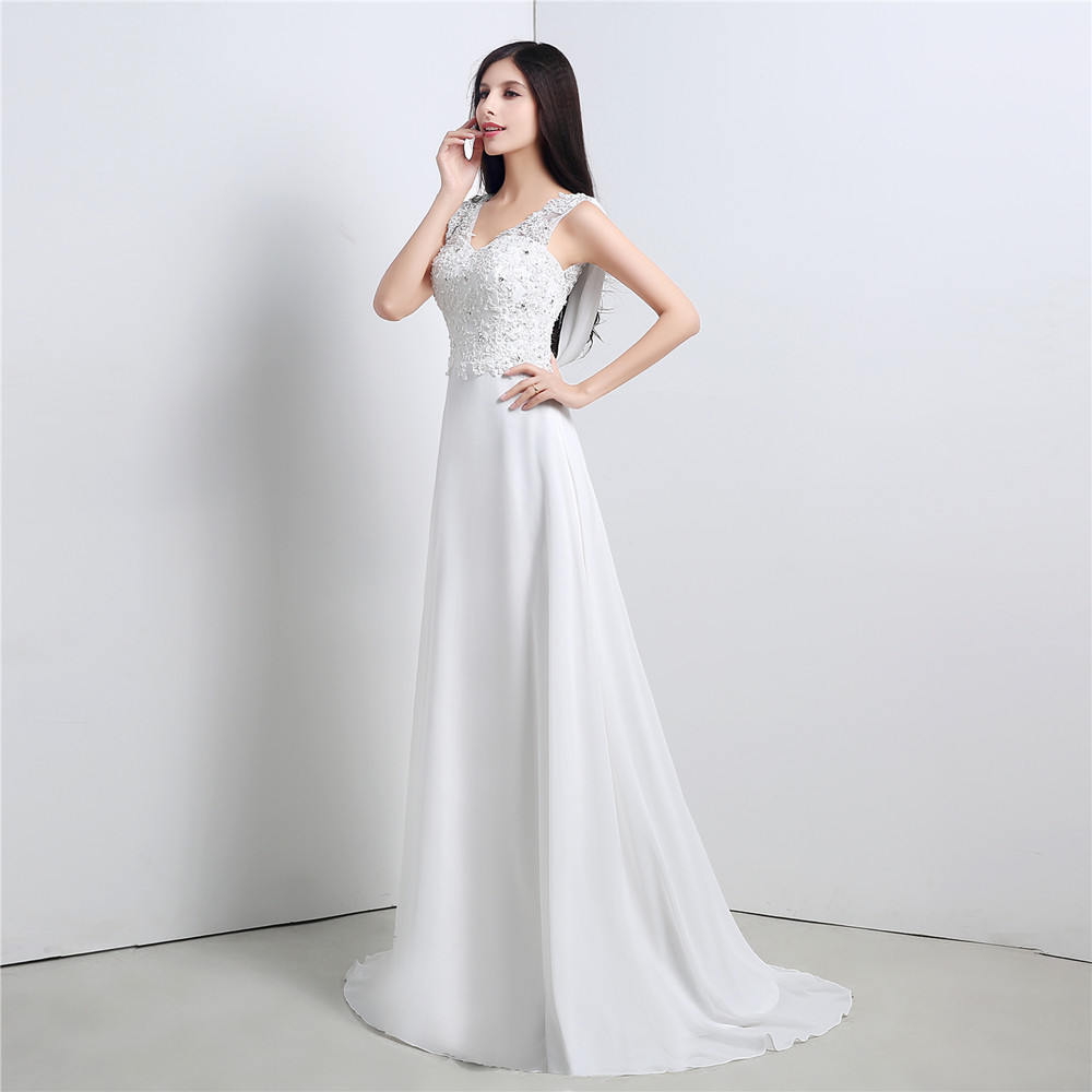 Elegante Einfache Brautkleid Casual V ausschnitt Chiffon Bodenlangen ...