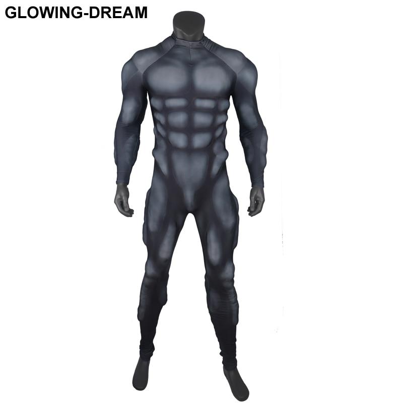 Черные туфли высокого качества Мышцы костюм 3D рельеф мышц Подкладка черный костюм Мышцы костюм для герои