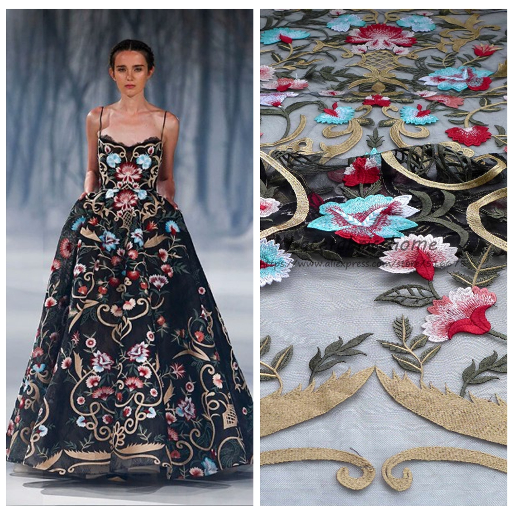 1yard New fashion gold red blue mixed color on black/beige tulle embroidery wedding dress/party/evening dress lace fabric