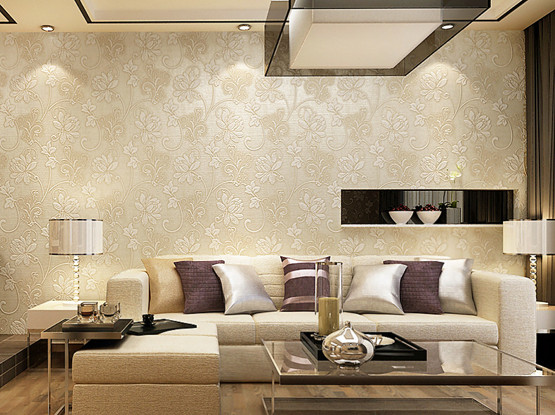 European modern non woven floral embossed 3d wallpaper for Top 10 living room wallpaper