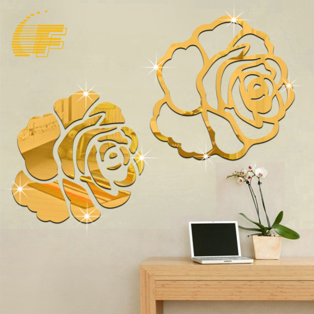 Luxury Flower Rose 3D Mirror Surface Wall Stickers Art Acrylic Home Office  Decoration DIY Craft Living Room Wall Decor Decal  48. Rose Office Furniture Reviews   Online Shopping Rose Office