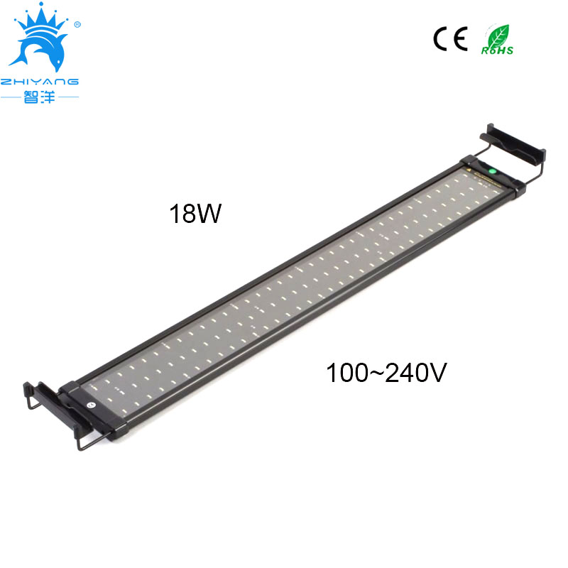 75~95cm Aquarium LED Lighting Fish Tank Light Lamp with Extendable Brackets 90 White and 18 Blue LED light for Aquarium