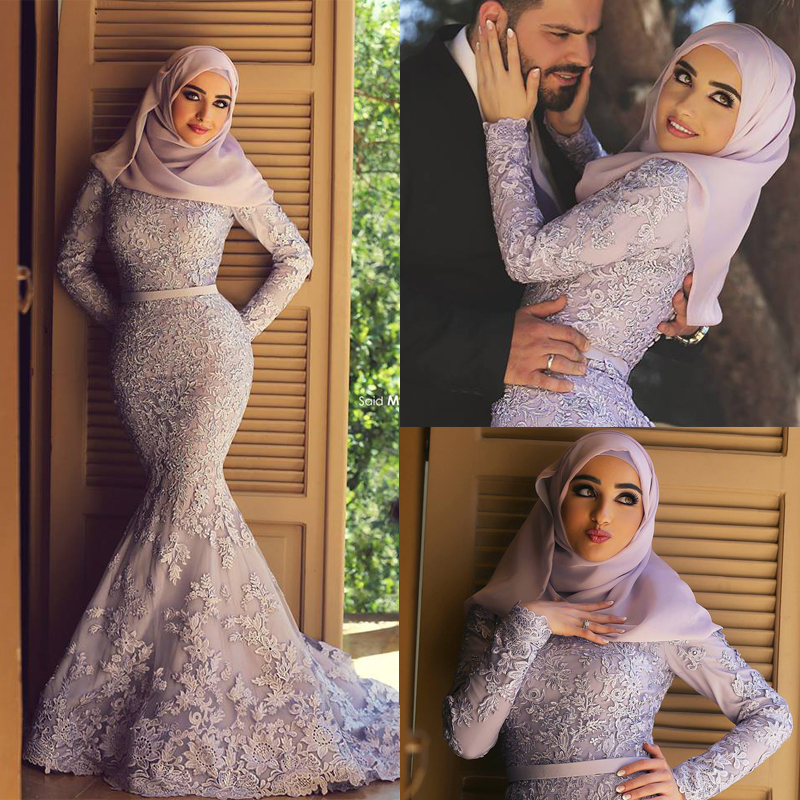 Elegant Long Sleeve Wedding Dresses Muslim Dress 2015: Muslim Lace Mermaid Wedding Dress Hijab 2015 Long Sleeve