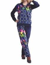 Мода Женская Одежда CVC Велюр, Бархат Пижамы набор плюс размер Lounge wear 3 шт. HN-0645