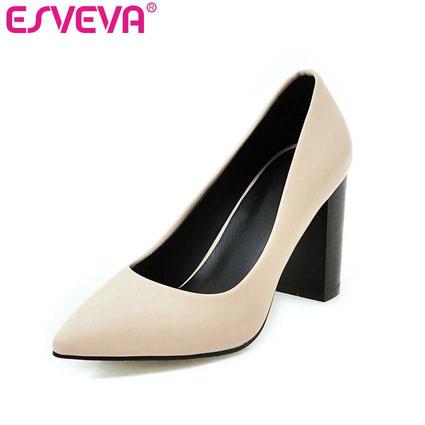 ESVEVA 2017 Mixed Color Women Pumps Pointed Toe Spring Autumn OL Work Shoes High Heel Women Shoes Lady Wedding Shoes Size 34-43 esveva 2017 ankle strap high heel women pumps square heel pointed toe shoes woman wedding shoes genuine leather pumps size 34 39