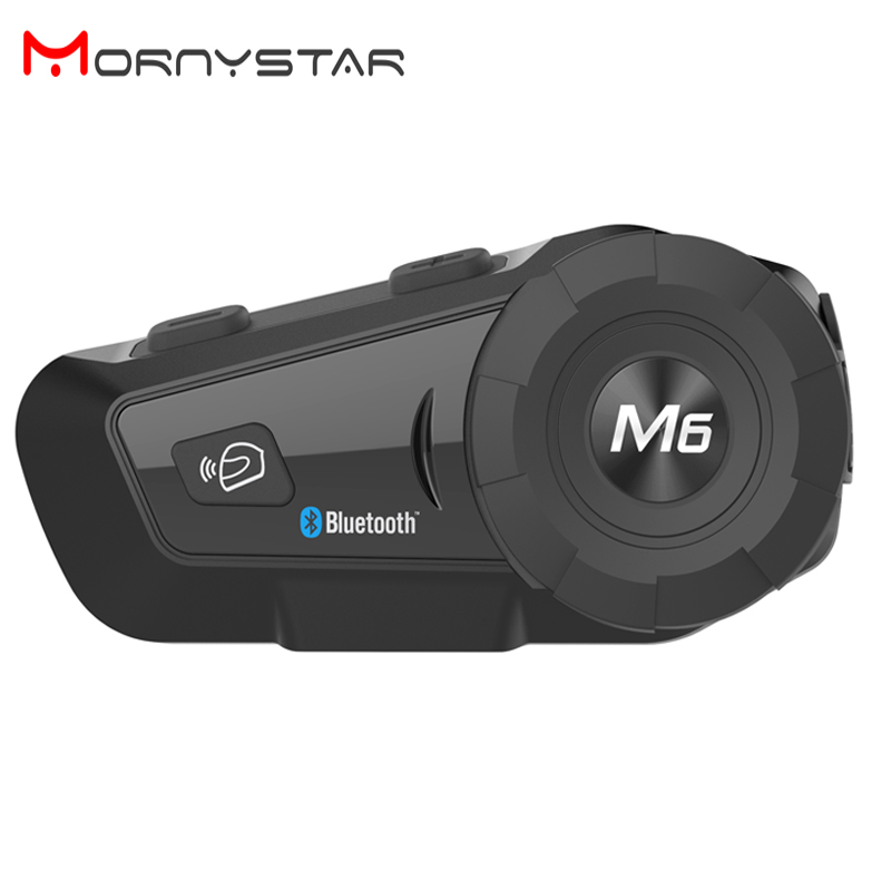 Mornystar 800m Motorcycle Bluetooth Helmet Intercom Headset MP3 FM For Siri Command Handsfree BT Interphone For Full Face Helmet(China)