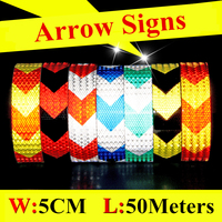 5cm*50m Black White Blue Red Yellow Arrow Safety Mark Reflective Tape stickers strips Self Adhesive Warning Tape High Visibility
