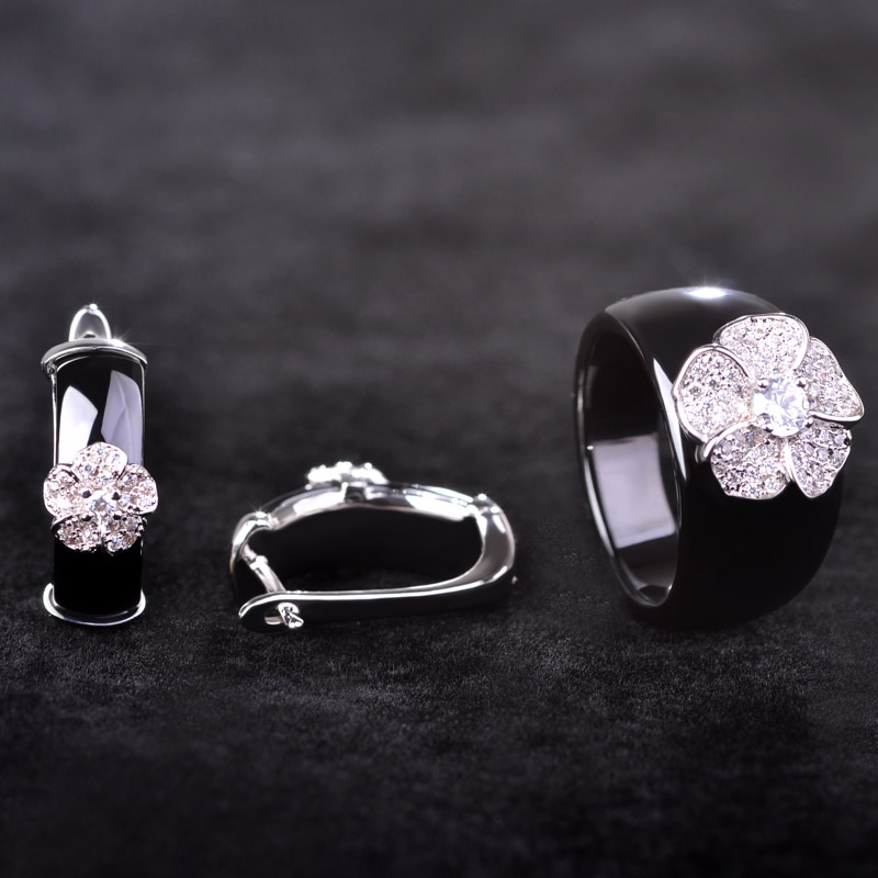 Blucome Black Flower Zircon Ceramics Jewelry Sets Earrings Ring Set Lady Women Silver Color Zircon Copper