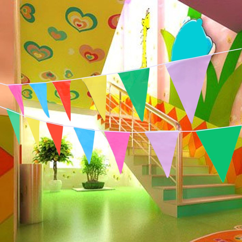 Behogar 10m Multicolor Plastic Pennant String Banner Flag Decoration Bendera Merah Putih Plastik Palstik For Indoor Outdoor Wedding Picnics Party Festivals Birthday In Diy Decorations