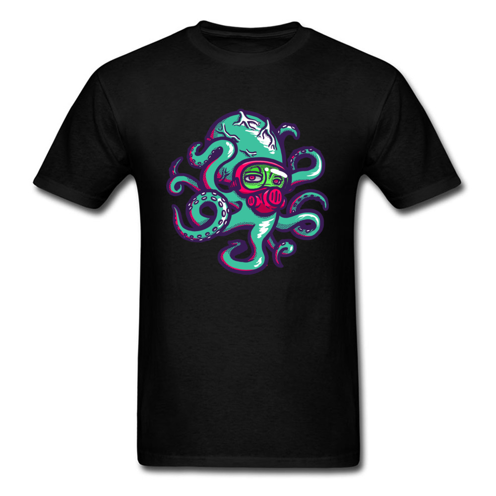 Popular Octopus T shirts Men Black Tshirt Prevailing Autumn Short Sleeve O Collar Tops Clothes Cotton Adult Classic Tee Shirts in T Shirts from Men 39 s Clothing