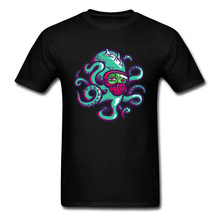 Popular Octopus T-shirts Men Black Tshirt Prevailing Autumn Short Sleeve O Collar Tops Clothes Cotton Adult Classic Tee Shirts short sleeve octopus tentacles print tee