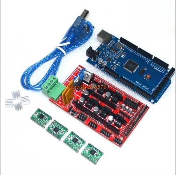 Mega 2560 R3 + 1pcs RAMPS 1.4 Controller + 4pcs A4988 Stepper Driver Module for 3D Printer kit Reprap MendelPrusa