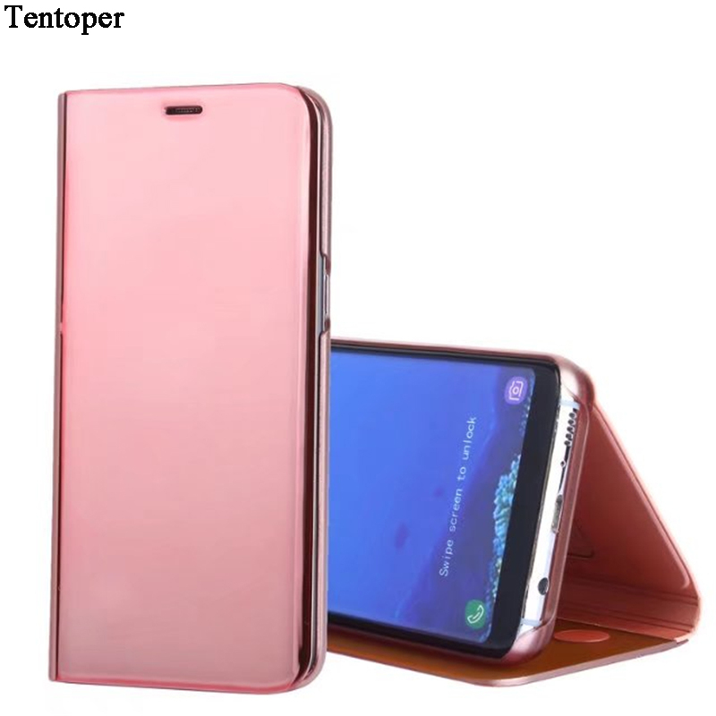 Smart Mirror Clear View Flip Case för Huawei P20 Lite P10 för Galaxy S9 S8 S7 A5 2017 A8 2018 för iphone X 8 Stand Leather Leather Cover