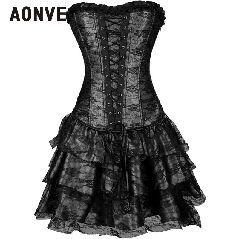 AONVE Steampunk   Corset   Party Dress With Skirt Overbust Shapewear   Corsets     Bustiers   Gothic Clothing Burlesque Corselet for Women