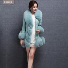 2016 PU patchwork medium-long fox fur coat thickening overcoat girls's clothes Plus dimension S-4XL