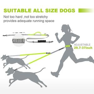 Image 2 - Поводок для собак, двойные поводки для бега, прогулки, эластичные, светоотражающие, нейлоновые, регулируемые, для маленьких, средних и больших собак