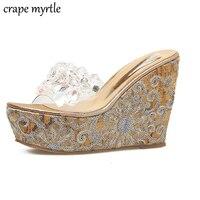 Cristal sandálias mulheres flip flops praia chinelos mulher sandálias de verão Cunhas Sandálias Femininas chinelos Sapatos transparentes YMA176