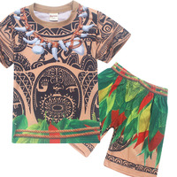 Cartoon Moana Clothes Boys Clothing Cotton Pajamas Set Maui Costume 2 Piece Set Toddler Boy Sleepwear