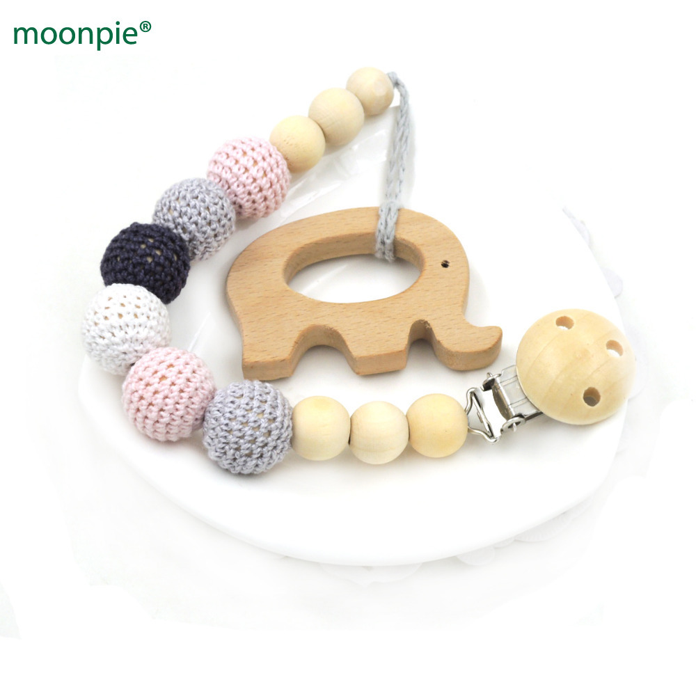 Neutral color baby Pacifier Clip Holder with beech Elephant Shaped Pendant Dummy holder Crochet beads new-born gift NT132
