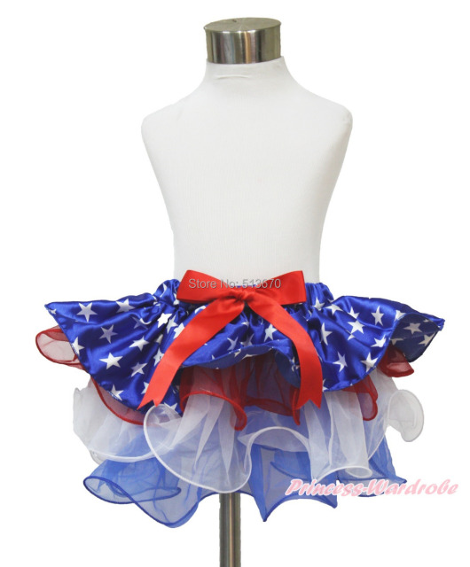4th July Patriotic Star Waist Red White Blue Petal Pettiskirt Dance Tutu NB-8Y B264 N224
