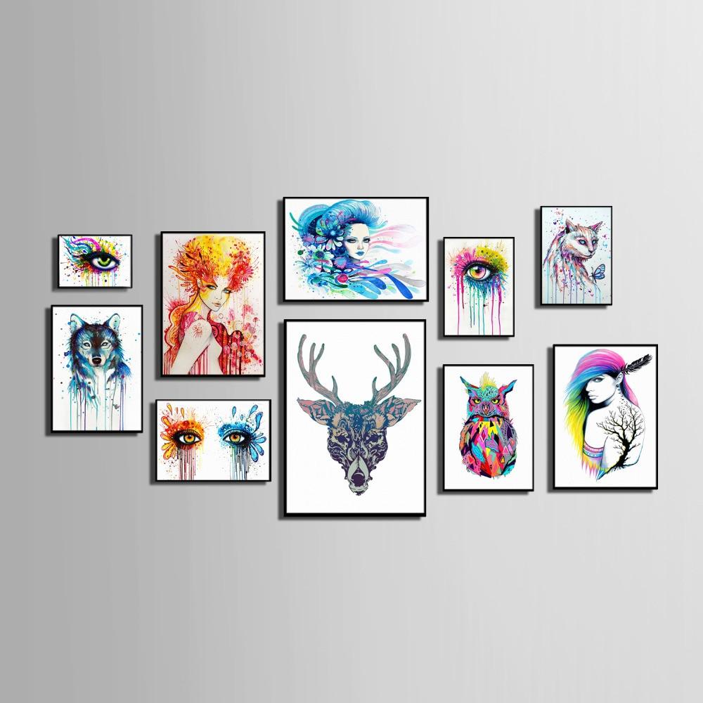 Estilo nórdico arte enmarcado lona pintura arte Color Animal y ...