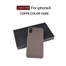 Fibra de carbono 4.7 5.5 pulgadas caja Del Teléfono caso de la Cubierta para el iphone X 7 MÁS caso cáscara de la protección del teléfono Móvil
