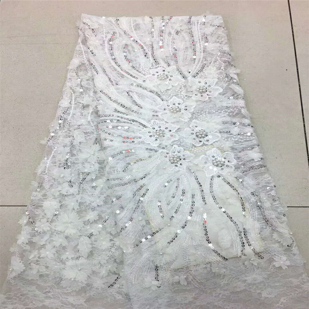 african lace fabric with 3D flower and beads sequins 2018 latest white lace fabric high quality