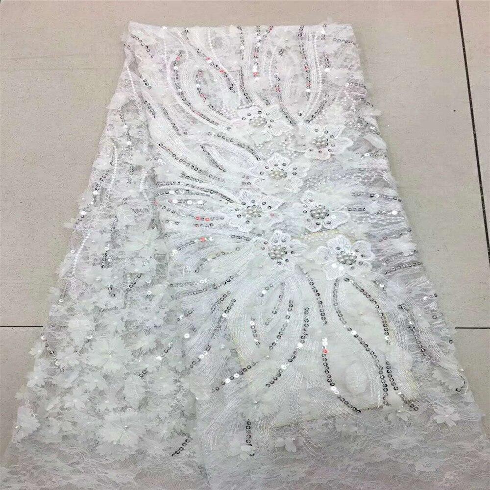 Afrikanische spitze stoff mit 3D blume und perlen pailletten 2018 neueste weiß spitze stoff hohe qualität 3d spitze stoff für hochzeit H466 -in Spitze aus Heim und Garten bei  Gruppe 1