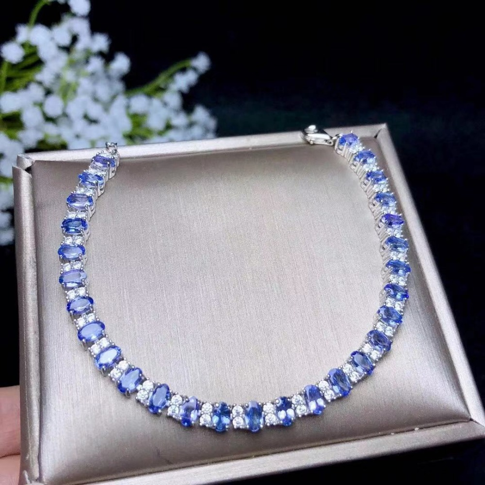 Réel argent tanzanite bracelet pour le mariage 3mm * 5mm naturel VS tanzanite bracelet solide 925 argent tanzanite bijoux