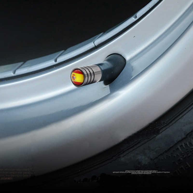 4 قطعة/الوحدة اسبانيا العلم سيارة دراجة موتو الإطارات غطاء صمام العجلة يغطي تصفيف السيارة لشركة فيات أودي فورد Bmw volkswagen سيارة بيجو أوبل
